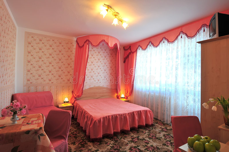 czerwony sypialni zdjęcia royalty free