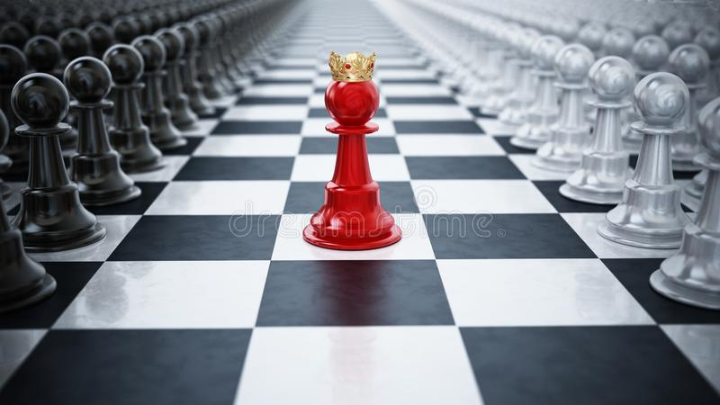 Czerwony szachowy pionek jest ubranym korony pozycję między czarny i biały szachowymi kawałkami ilustracja 3 d ilustracji