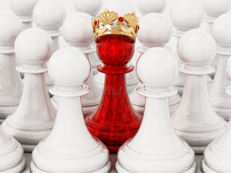 Czerwony szachowy pionek z złotą koroną stoi out wśród białych pionków ilustracja 3 d royalty ilustracja
