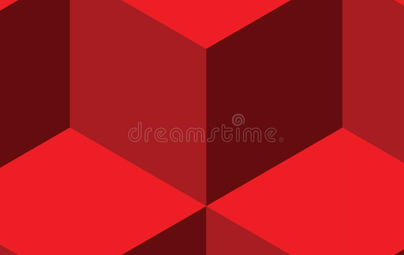 Czerwony sześcianu wzoru tło w trzy czerwonego koloru brzmieniach royalty ilustracja