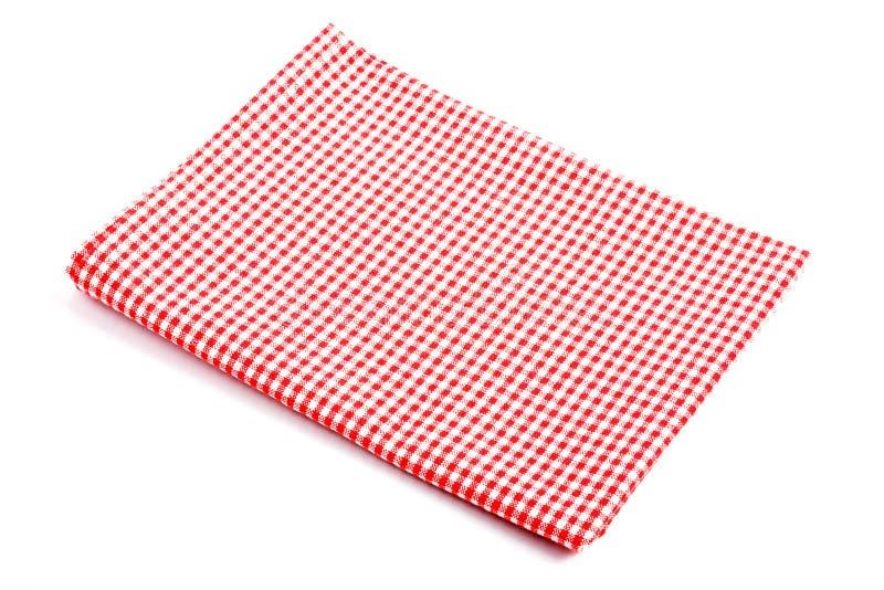 Czerwony szkockiej kraty tablecloth składający w dwa fotografia stock