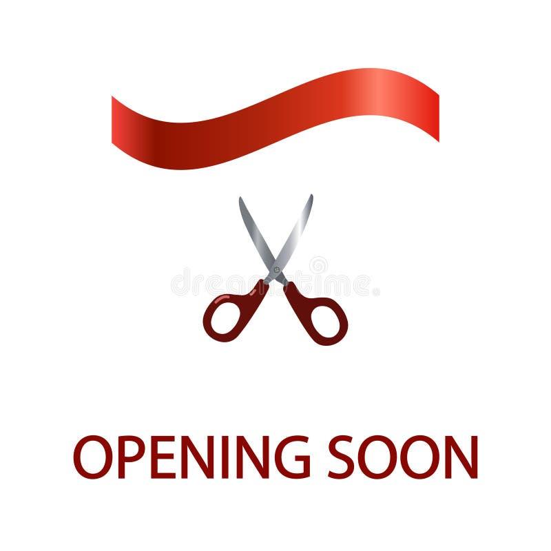 Czerwony sztandar Otwiera wkrótce z nożycami, odizolowywającymi na białym tle royalty ilustracja