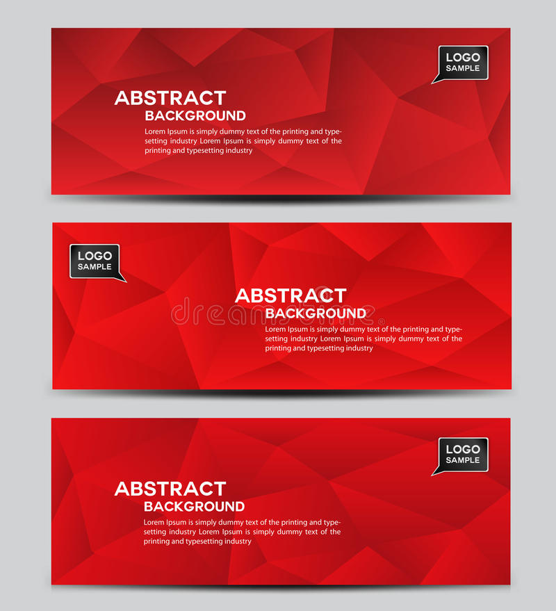 Czerwony sztandaru projekta wektor, wieloboka tło, Abstrakcjonistyczny tło, korporacyjnego biznesu sztandaru szablon, ulotka proj ilustracji