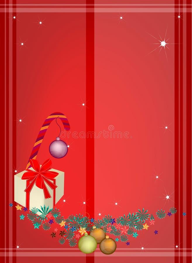 Czerwony tło boże narodzenia ornamenty i prezent Boxe ilustracja wektor