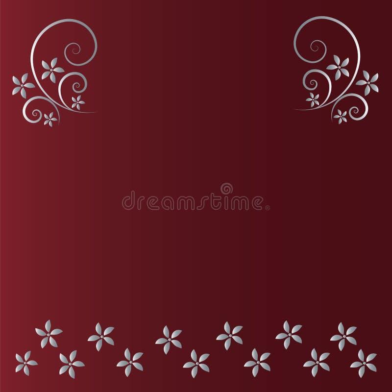 Czerwony tło z kwiecistego i kwiatu srebrem ilustracji