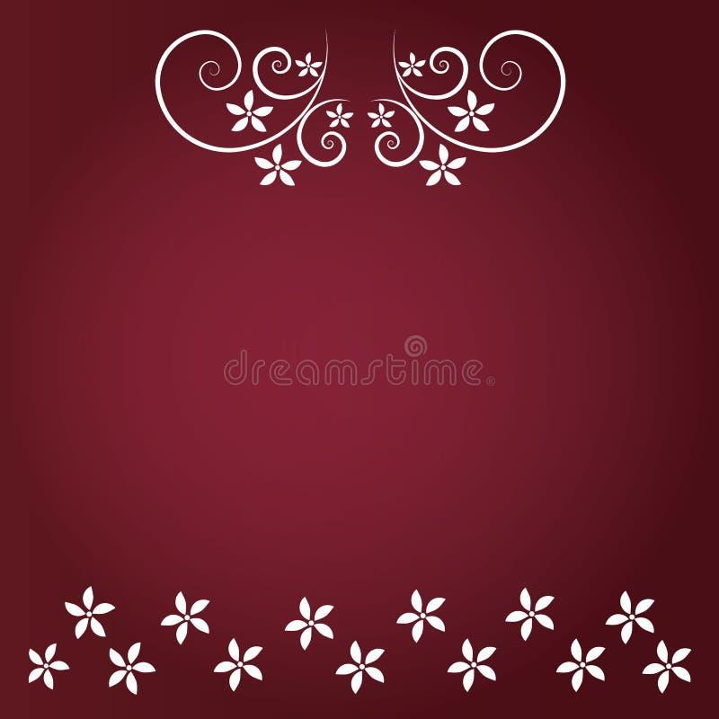 Czerwony tło z kwiecistym i białym kwiatem ilustracja wektor