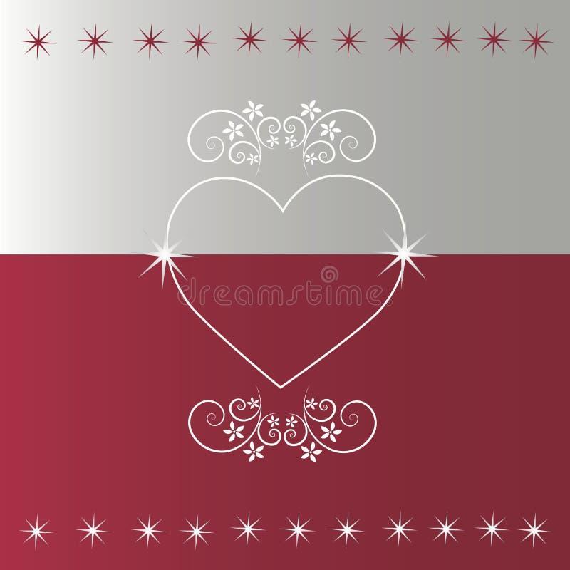 Czerwony tło z srebnym i kwiecistym sercem ilustracja wektor
