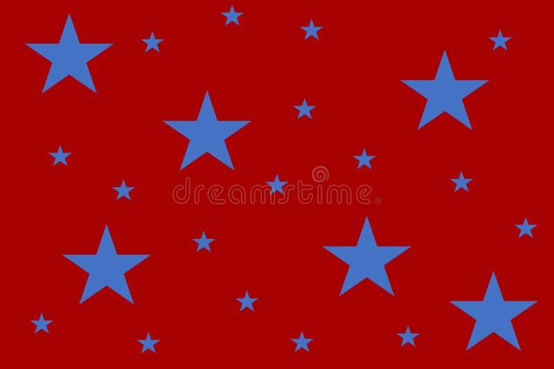 Czerwony tło z wielkimi, małymi błękitnymi gwiazdami dla czwarty i royalty ilustracja