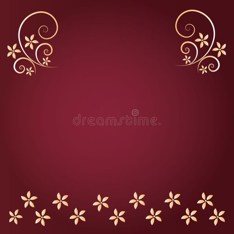 Czerwony tło z złocistym kwiatem zdjęcie stock
