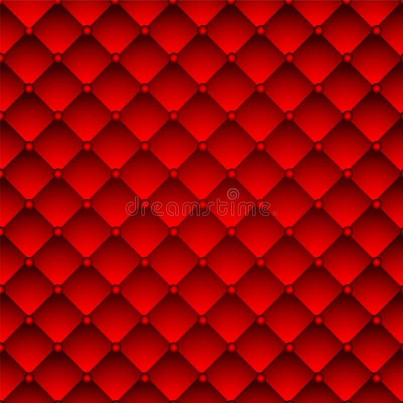 Czerwony tapicerowanie skóry wzoru tło. royalty ilustracja