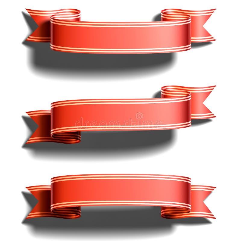 czerwony tasiemkowy błyszczący royalty ilustracja