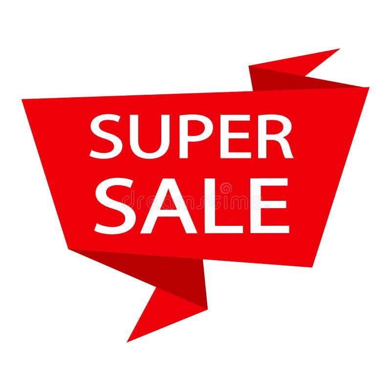 Czerwony tasiemkowy sztandar z białą wpisową SUPER sprzedażą wektor ilustracja wektor
