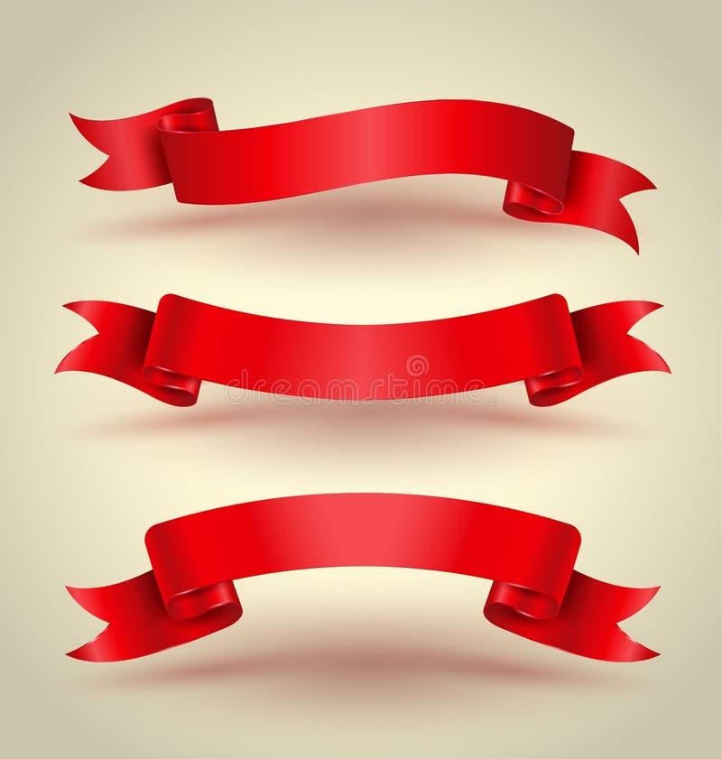 Czerwony tasiemkowy sztandaru set ilustracja wektor