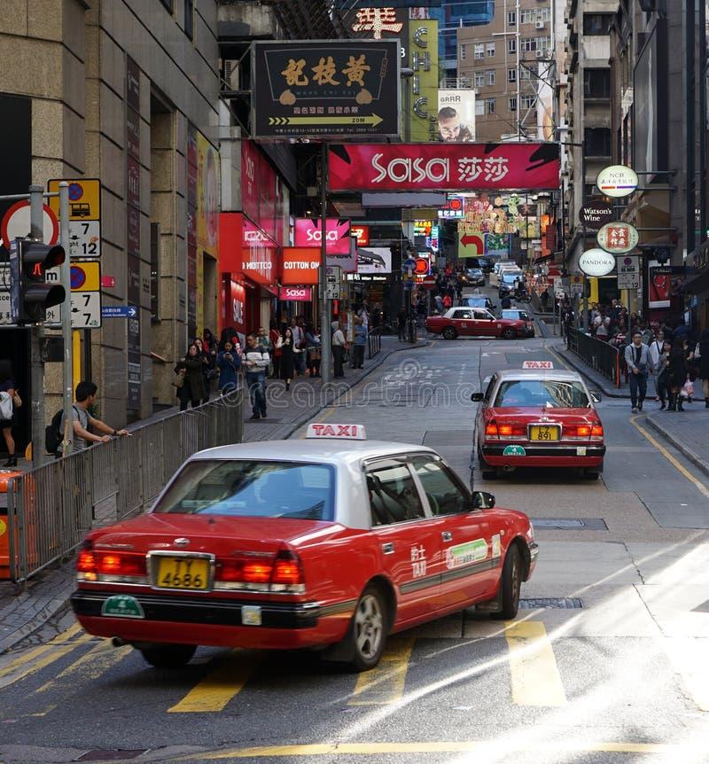 Czerwony taxi w Hong Kong fotografia royalty free