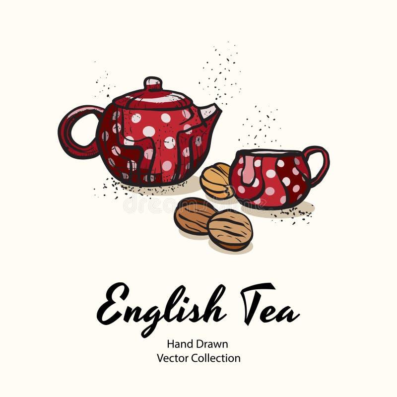 Czerwony teapot i filiżanka z białymi polek kropkami ciastko dokrętkami i wręczamy patroszoną wektorową ilustrację w starym stylu ilustracja wektor