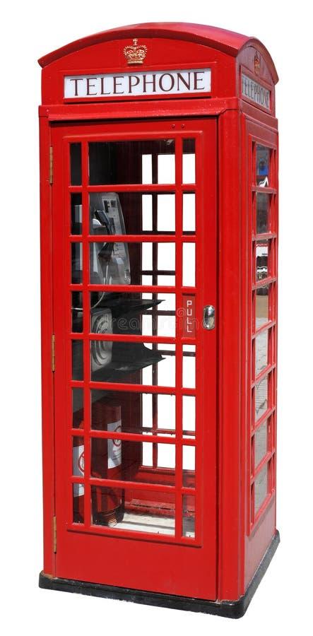 Czerwony Telefoniczny pudełko Odizolowywający zdjęcia stock