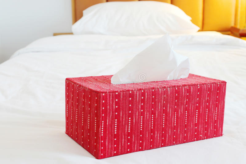 Czerwony tkankowy papierowy pudełko na przestronnym łóżku obrazy royalty free