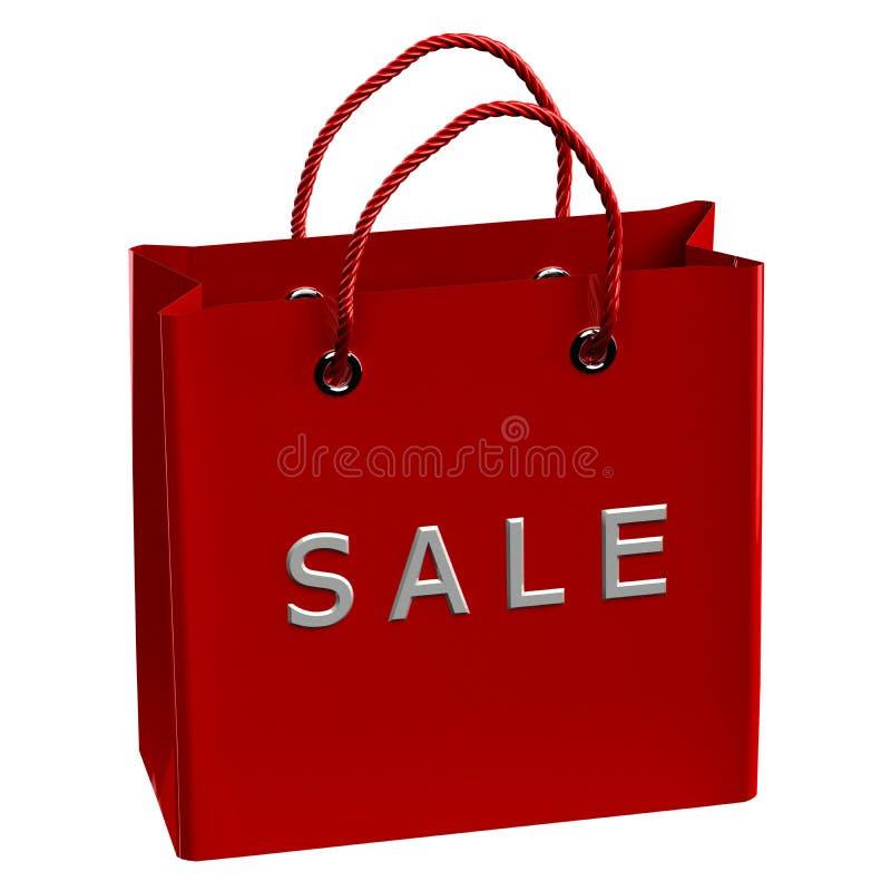 Czerwony torba na zakupy z słowo sprzedażą ilustracji