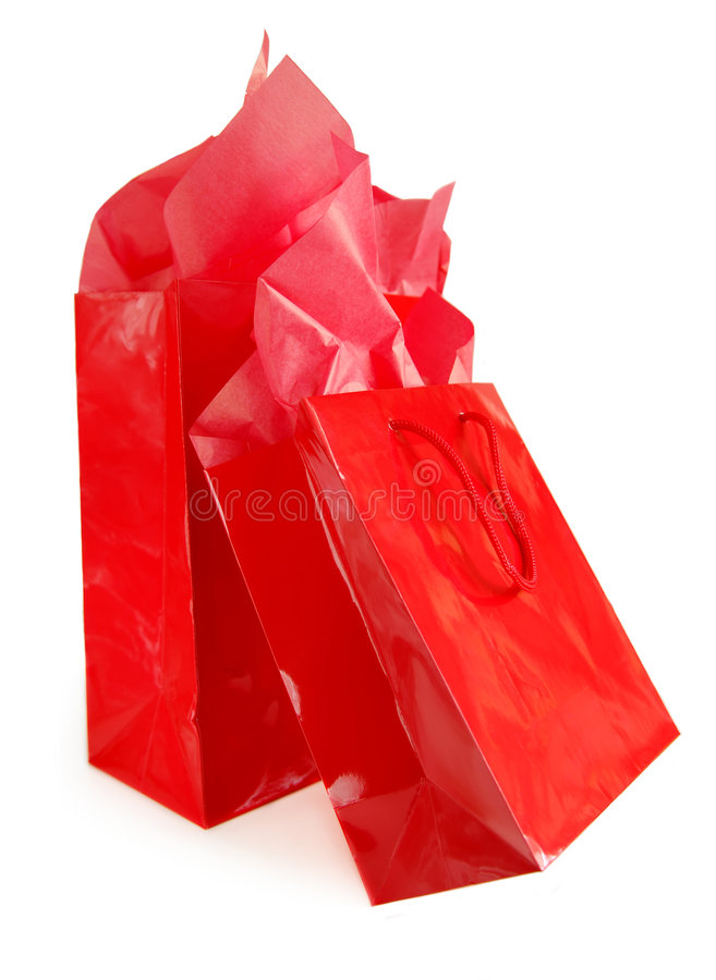 czerwony torby na zakupy obrazy royalty free