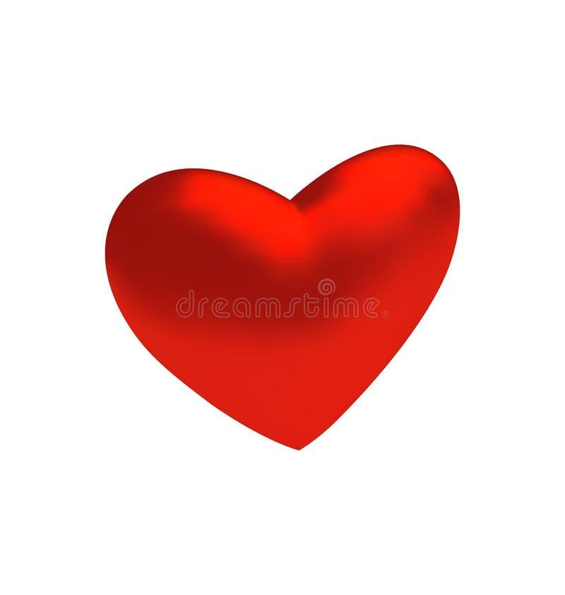 Czerwony trójwymiarowy serce odizolowywający na białym tle ilustracja wektor
