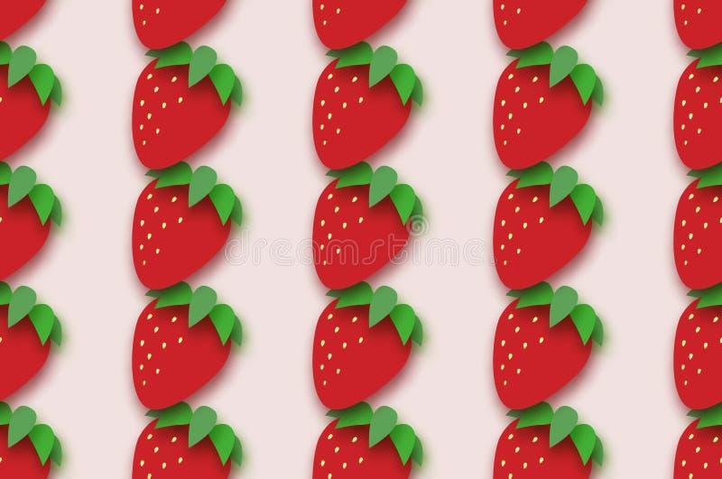 Czerwony Truskawkowy bezszwowy wzór w papieru cięcia stylu Origami Zdrowy jedzenie na menchiach Lato ilustracja wektor