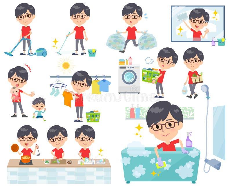 Czerwony Tshirt Glasse men_housekeeping ilustracja wektor
