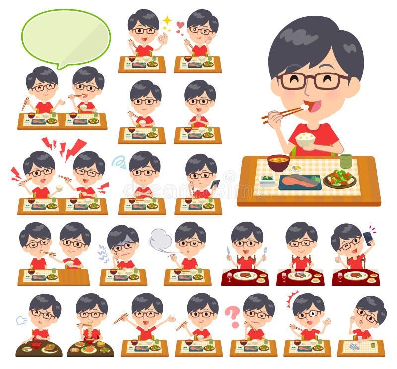 Czerwony Tshirt Glasse men_Meal ilustracja wektor