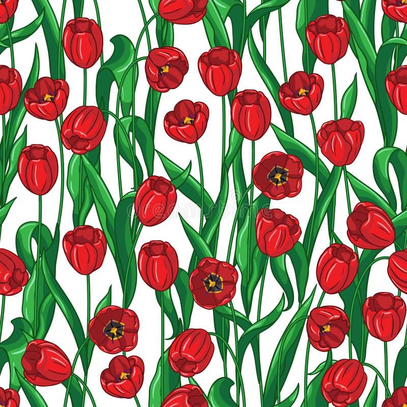 Czerwony tulipanu wzór royalty ilustracja