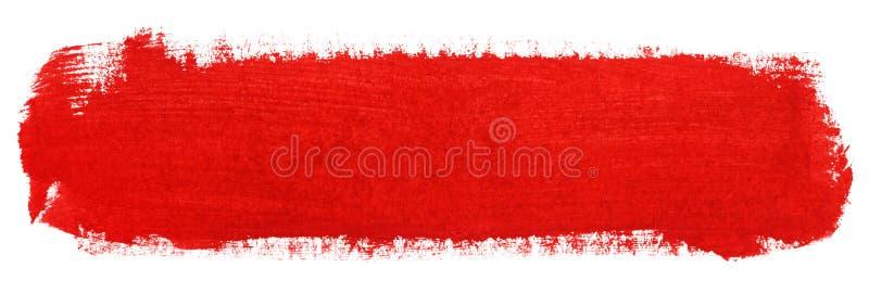 Czerwony uderzenie guasz farby muśnięcie ilustracji