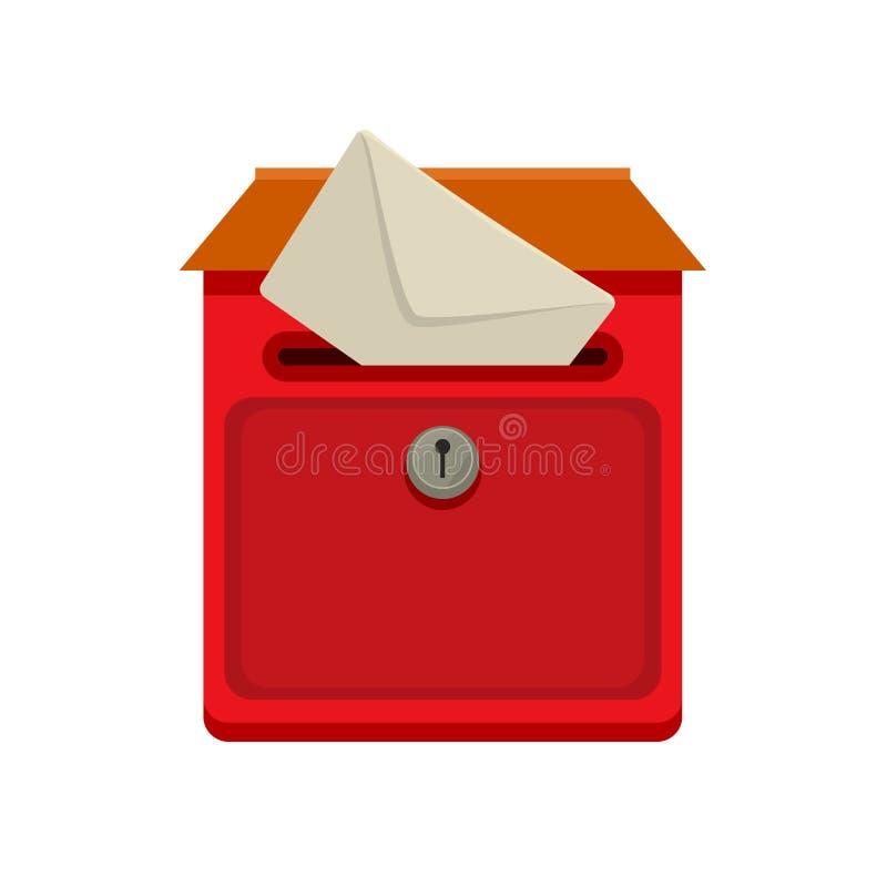 Czerwony ulicy ściany postbox z poczta w płaskim wektoru stylu dla sieci lub ilustraci royalty ilustracja