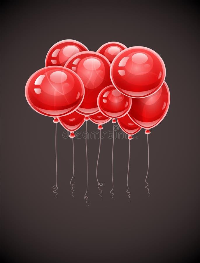 Czerwony urodziny szybko się zwiększać wznosić się w powietrzu ilustracja wektor