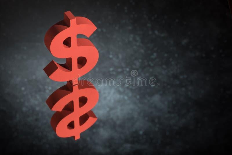 Czerwony USA waluty symbol lub znak Z Lustrzanym odbiciem na Ciemnym Zakurzonym tle fotografia stock