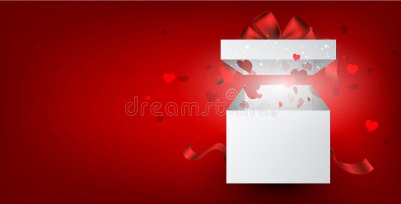 Czerwony valentine ` s tło z prezentem i sercami ilustracji