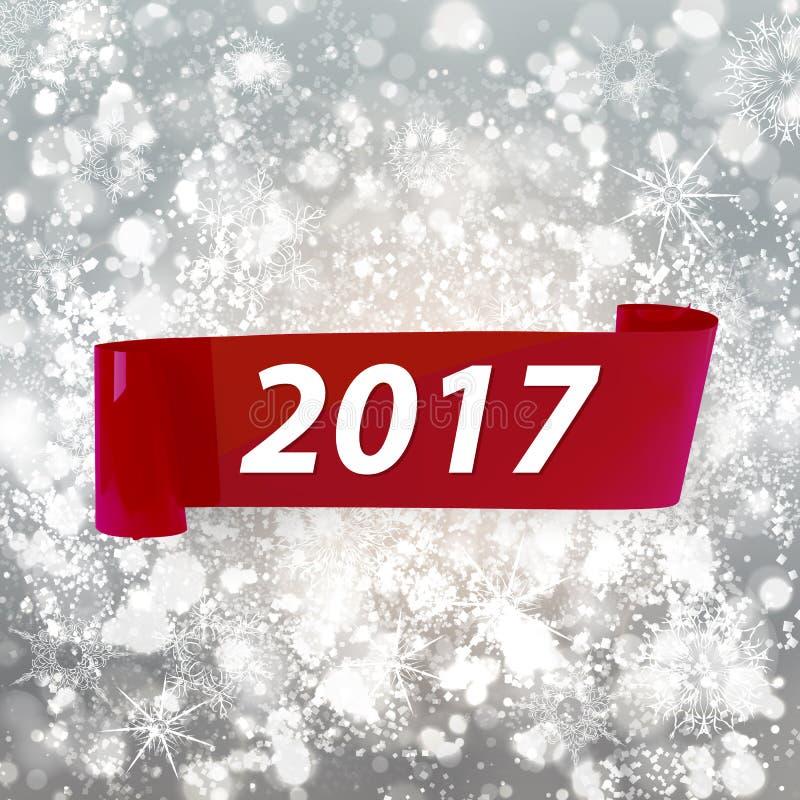 Czerwony wakacyjny faborek na lekkim plamy tle dla nowego roku royalty ilustracja