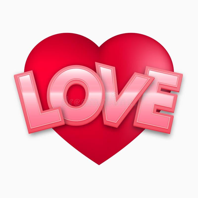 Czerwony walentynki serce z miłość tekstem, wektorowa ilustracja ilustracja wektor