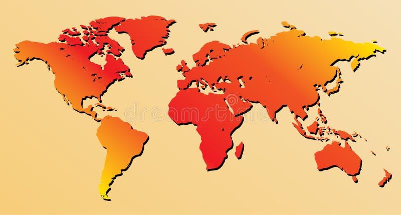 czerwony wektor mapa świata ilustracji