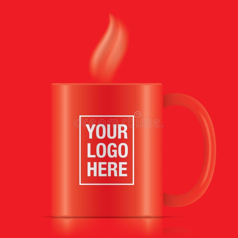 Czerwony wektorowy kawowy kubek ilustracja wektor