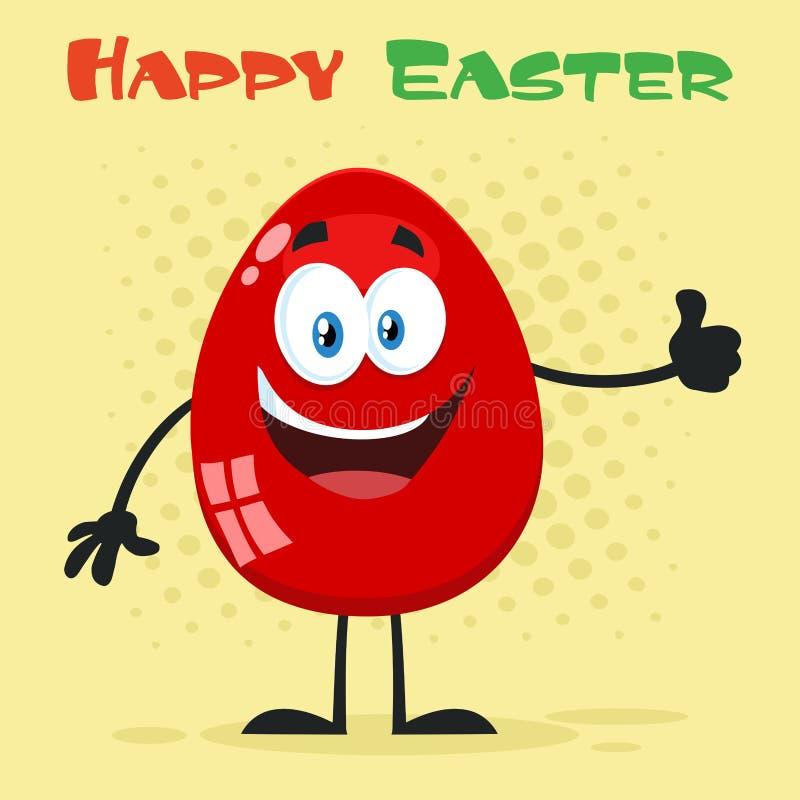 Czerwony Wielkanocnego jajka kreskówki maskotki charakter Pokazuje aprobaty ilustracji