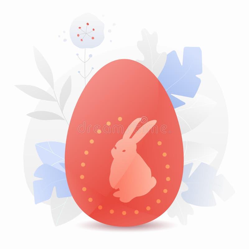 Czerwony Wielkanocny jajko z królik sylwetką ilustracja wektor