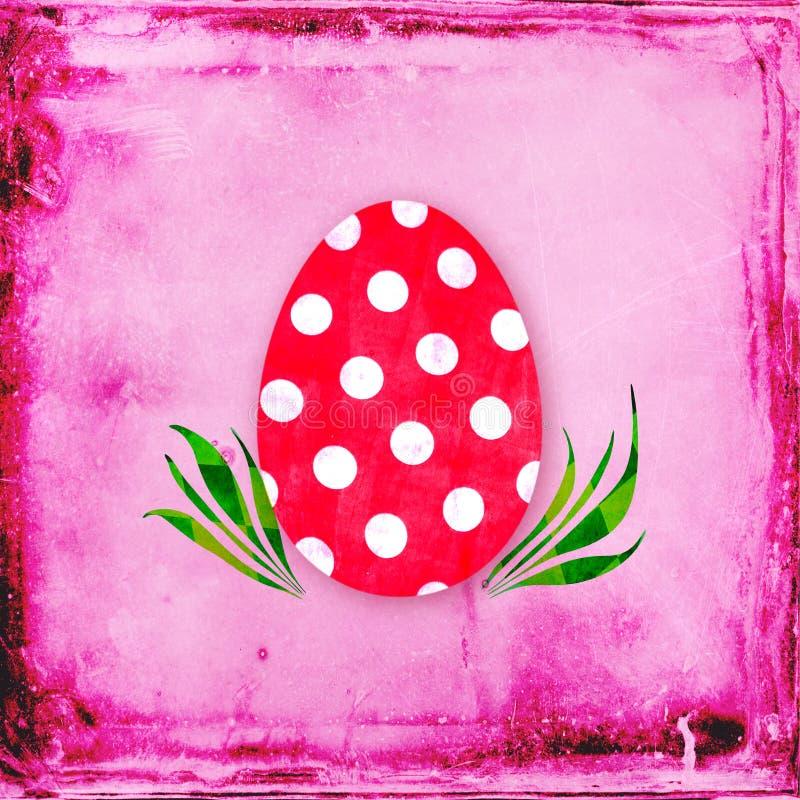 Czerwony jajko z polek kropkami obrazy stock