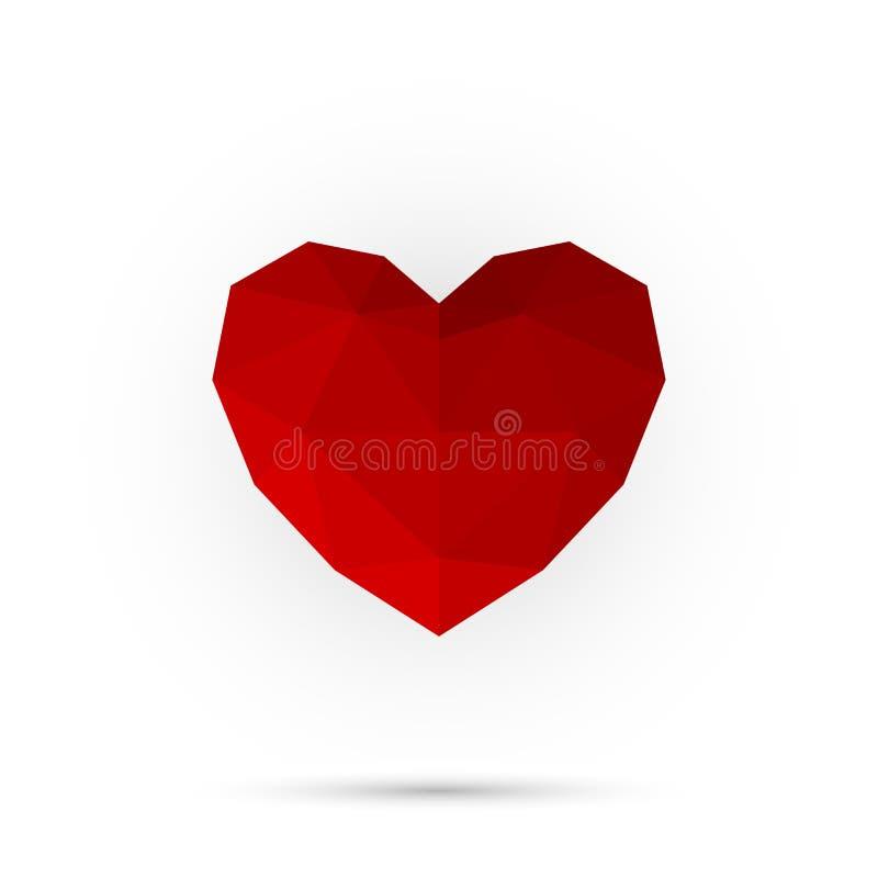 Czerwony wieloboka serce szczęśliwy dzień valentine Abstrakta 3d kształt dla twój projekta ilustracji