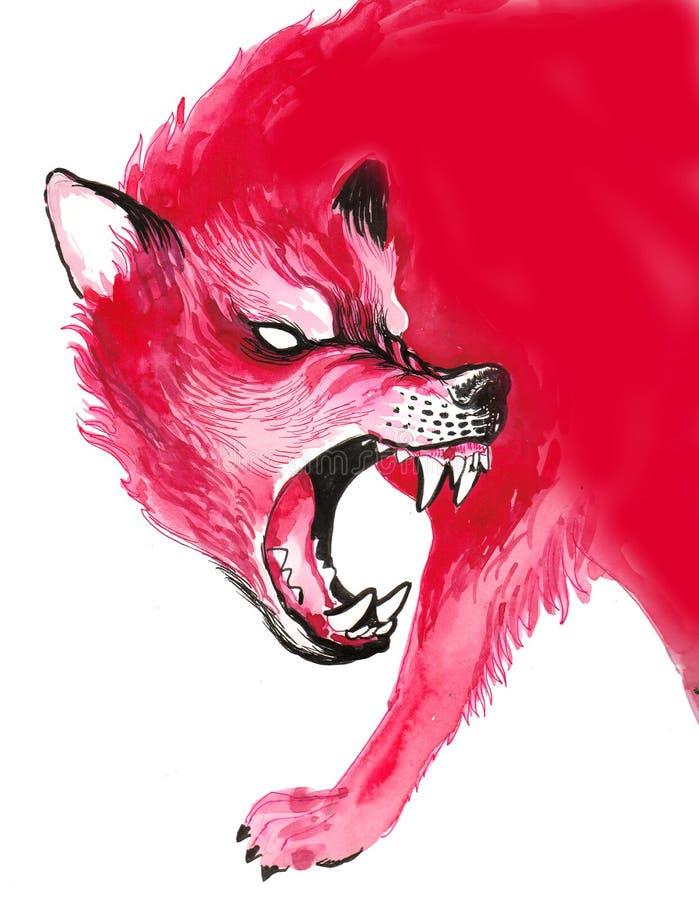 czerwony wilk ilustracja wektor