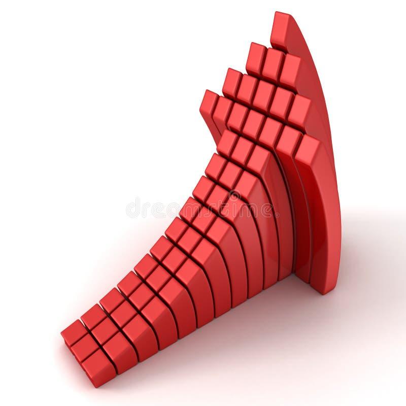 Czerwony wydźwignięcie wyginał się sześcian strzała na białym tle royalty ilustracja