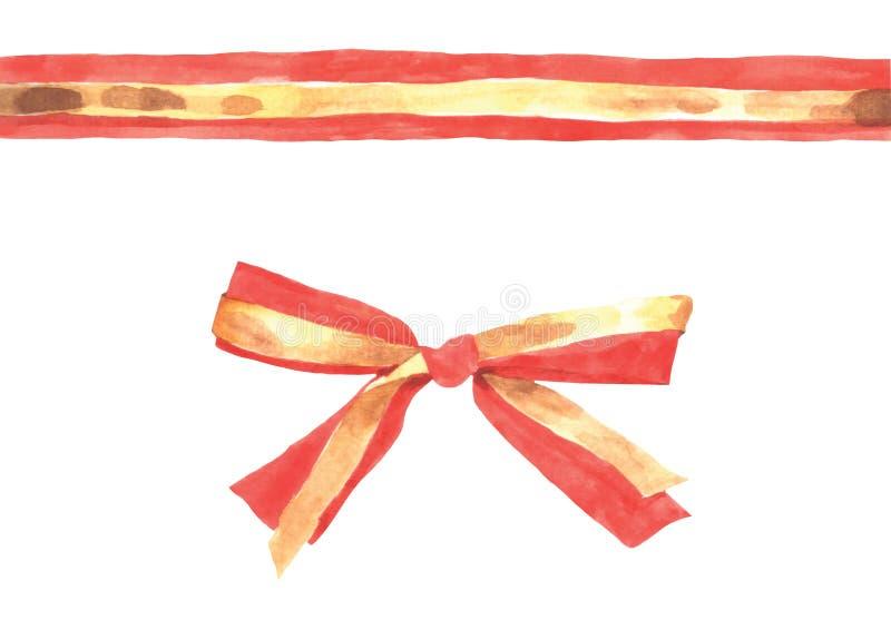 Czerwony złocisty faborek ilustracji