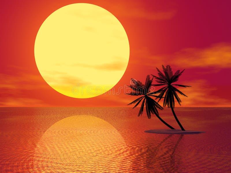 czerwony zachód słońca royalty ilustracja