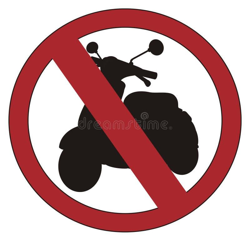 Czerwony zakaz z moped ilustracji