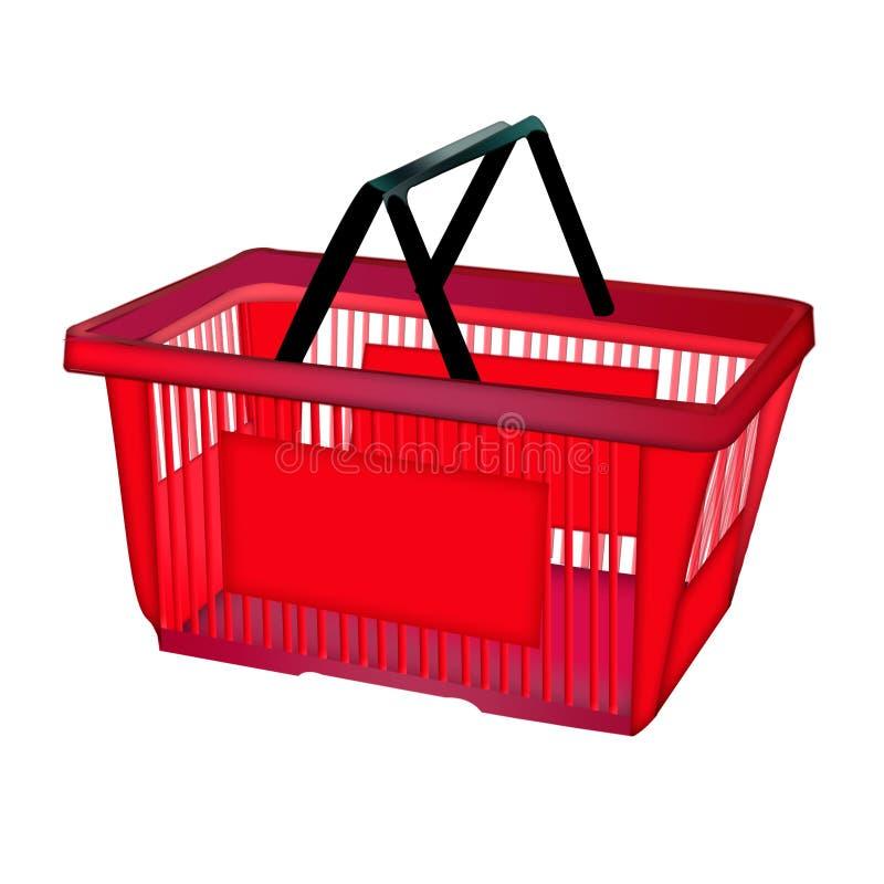 Czerwony zakupy kosz - odizolowywający na białym tle Ikona z zakupy koszem ilustracji