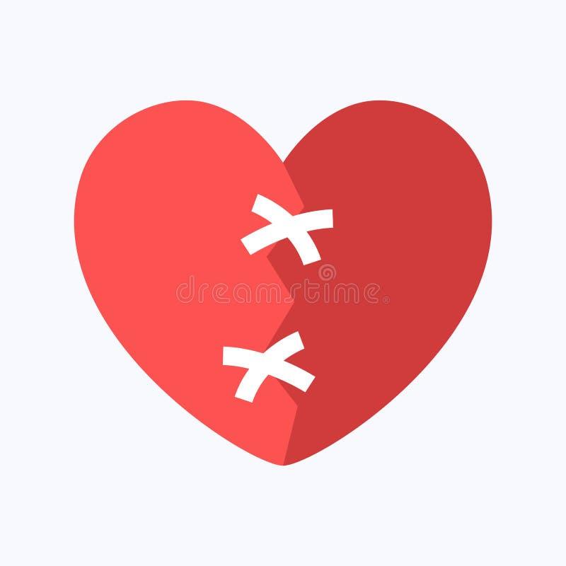 Czerwony zaw?d mi?osny lub z?amane serce ilustracji