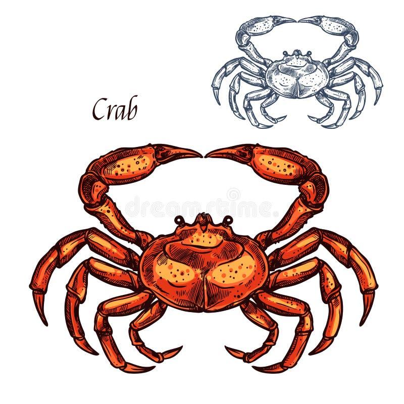 Czerwony zwierzę odizolowywający kraba nakreślenie ilustracja wektor