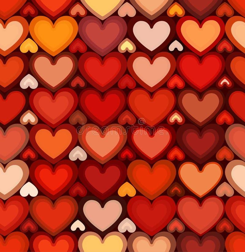 Czerwonych żyłkowanych serc wektorowy bezszwowy wzór ilustracji